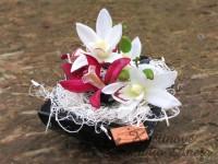 Miska s orchideí černá