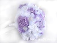 Svatební kytice saténová fialková...