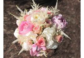Svatební kytice Pivoňková - něžná a voňavá z pivoňek a růží... 1550,-