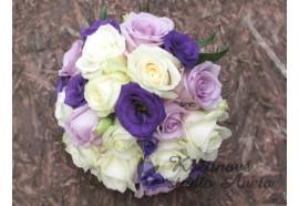 Svatební kytice Deep Purple - je kytice ze smetanových růží v kombinaci s lila a tmavě fialovou barvou... 1250,-