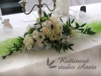 Svatební aranžmá na stůl bílo krémové...