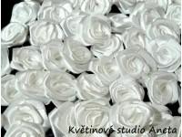 Látková růžička 13mm bílá...