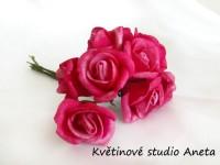 Růžička na drátku velká růžová tmavá II....