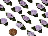 Látková růžička fialové s lístky...