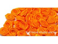 Látková růžička 15mm oranžová...