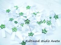Vývazky, svatební mašličky na myrtu s plastovou květinkou ze...