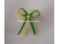 Vývazky, svatební mašličky na myrtu žlutá šifon+zelená satén...