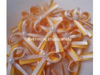 Vývazky, svatební mašličky na myrtu oranžovožlutá+bílá satén...
