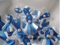 Vývazky, svatební mašličky na myrtu trojité bílá + modrá...
