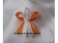 Vývazky, svatební mašličky na myrtu trojité oranžová + bílá...