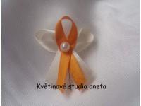 Vývazky, svatební mašličky na myrtu trojité smetanová + oran...