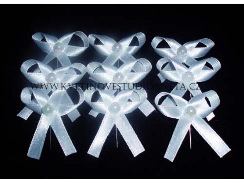 Vývazky, svatební mašličky na myrtu jednoduchá bílá