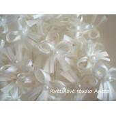 Vývazky, svatební mašličky na myrtu smetanová+bílá satén