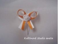 Vývazky, svatební mašličky na myrtu bílá+oranžová s růžičkou...