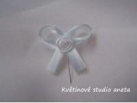 Vývazky, svatební mašličky na myrtu bílá+modrá sv. s růžičko...