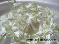Vývazky, svatební mašličky na myrtu bílá+hrášková s růžičkou...