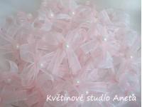 Vývazky, svatební mašličky na myrtu bílá+růžová šifon...
