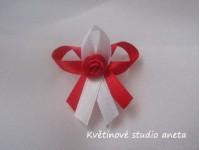 Vývazky, svatební mašličky na myrtu trojitá červená+bílá s r...