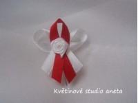 Vývazky, svatební mašličky na myrtu trojitá bílá+červená s r...