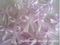 Vývazky, svatební mašličky na myrtu lila+bílá satén...