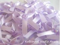 Vývazky, svatební mašličky na myrtu jednoduchá fialová...