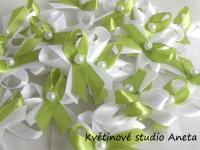 Vývazky, svatební mašlička trojitá bílá+zelené jablko...