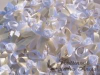 Vývazky, svatební mašličky na myrtu trojitá bílá+krémová růž...