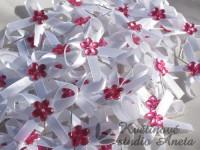 Vývazky, svatební mašličky na myrtu s plastovou květinkou rů...