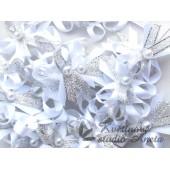 Vývazky, svatební mašlička trojitá bílá+stříbrná