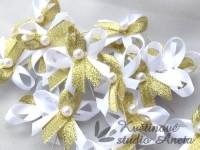 Vývazky, svatební mašlička trojitá bílá+zlatá...