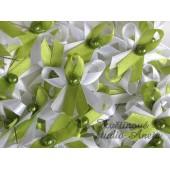 Vývazky, svatební mašlička trojitá bílá+zelené jablko+zelená perlička