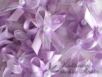 Vývazky, svatební mašlička trojitá fialová lila...