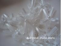 Vývazky, svatební mašličky na myrtu bílá šifon+satén...