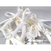 Vývazky, svatební mašličky krémová+bílá smyčka+květ