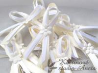 Vývazky, svatební mašličky krémová+bílá smyčka+květ...
