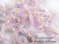Vývazky, svatební mašličky na myrtu lila+krémová šifon...