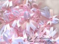 Vývazky, svatební mašličky na myrtu trojité růžová+bílá...