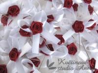 Vývazky, svatební mašličky na myrtu bílá s růžičkou vínovou...
