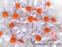 Vývazky, svatební mašličky na myrtu bílá s růžičkou oranžovo...