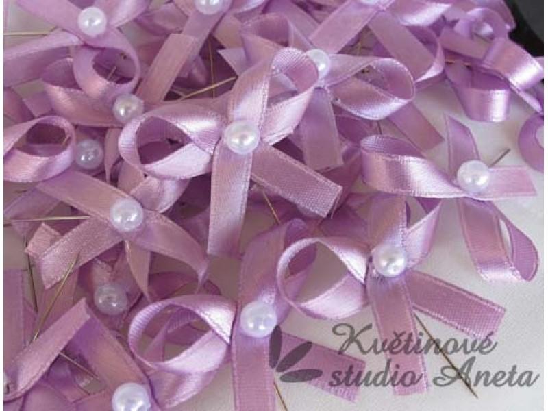 Vývazky, svatební mašlička na myrtu jednoduchá fialová středně