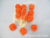 Koule ratan 1,5cm/24ks oranžová