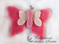 Filcový motýl růžový...
