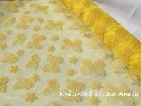 Organza žlutá s motýlky 1m...