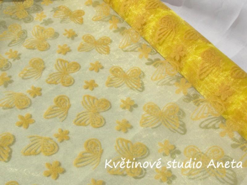 Organza žlutá s motýlky 1m
