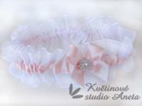 Podvazek perlově růžový LUX C