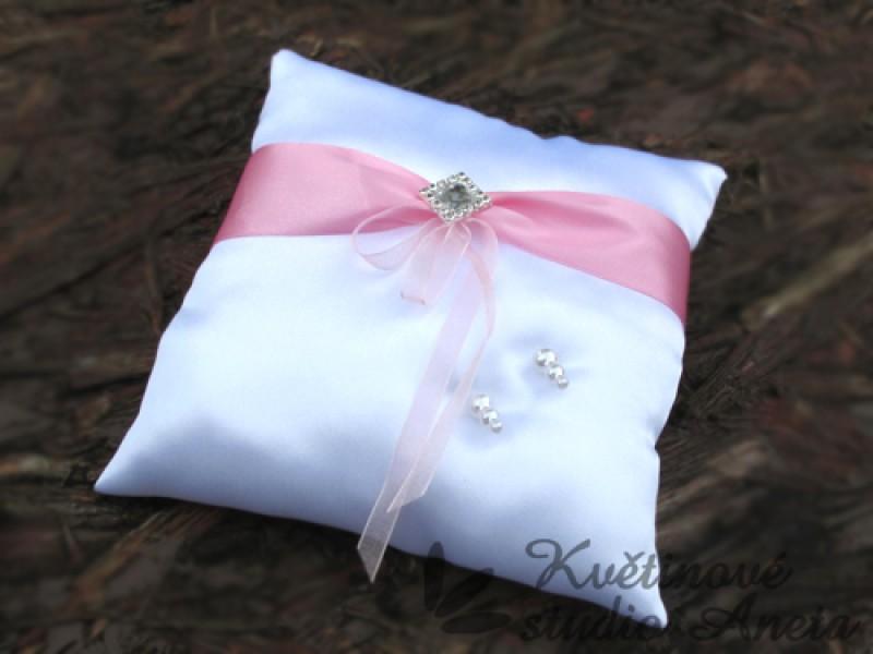 Polštářek na prstýnky LUX růžový s broží