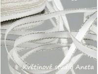 Stuha taftová bílá 0,6cm se stříbrným lurexem...