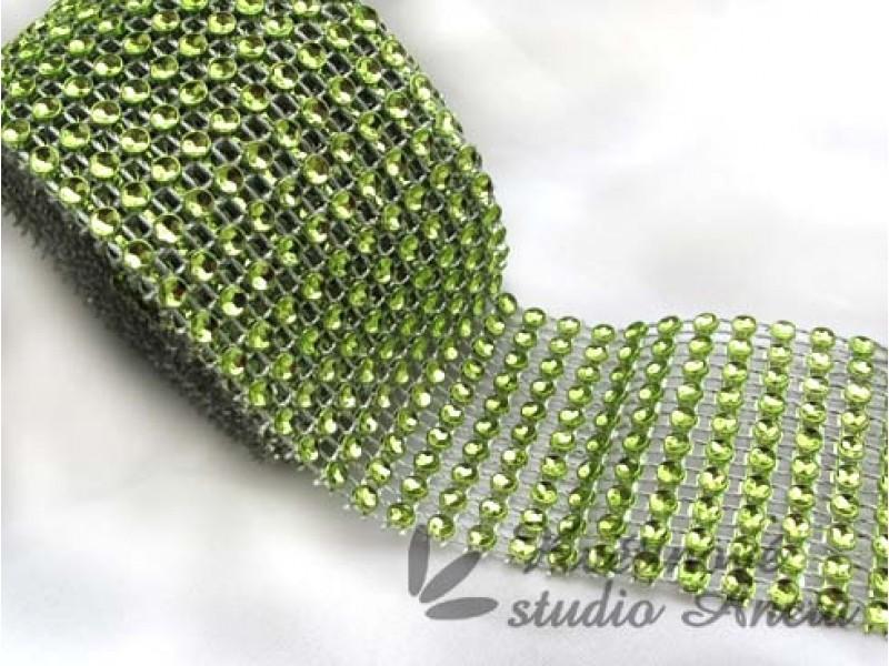 Stuha štrasová zelená 5x50cm