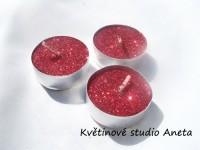Čajové svíčky červené glitry 10ks...