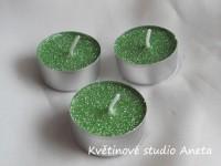 Čajové svíčky zelené glitry 10ks...